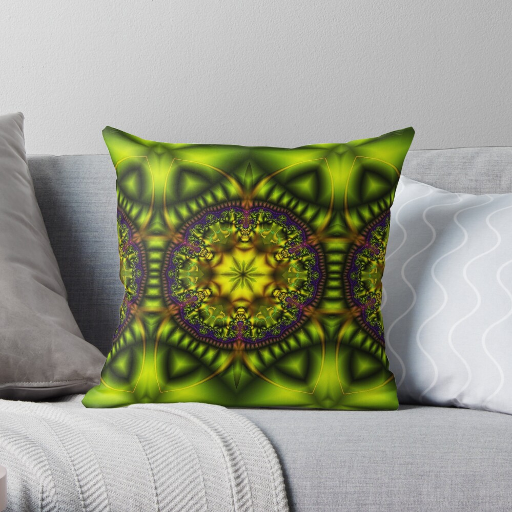 Green Lotus Throw Pillow