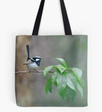 Male Superb Fairy Wren on a Peach Branch Tote Bag