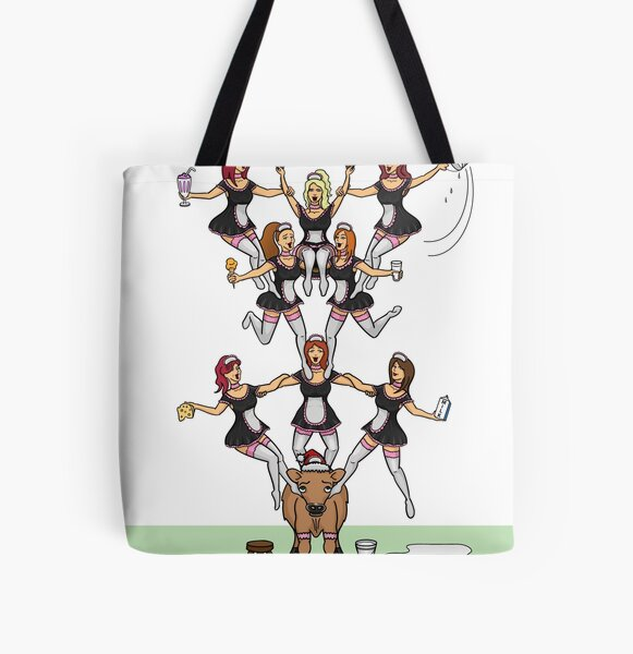 The Eighth Day of Christmas (8 Maids a-Milking) All Over Print Tote Bag