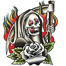 Traditional Reaper with Black Rose Tattoo Design by FOREVER TRUE TATTOO