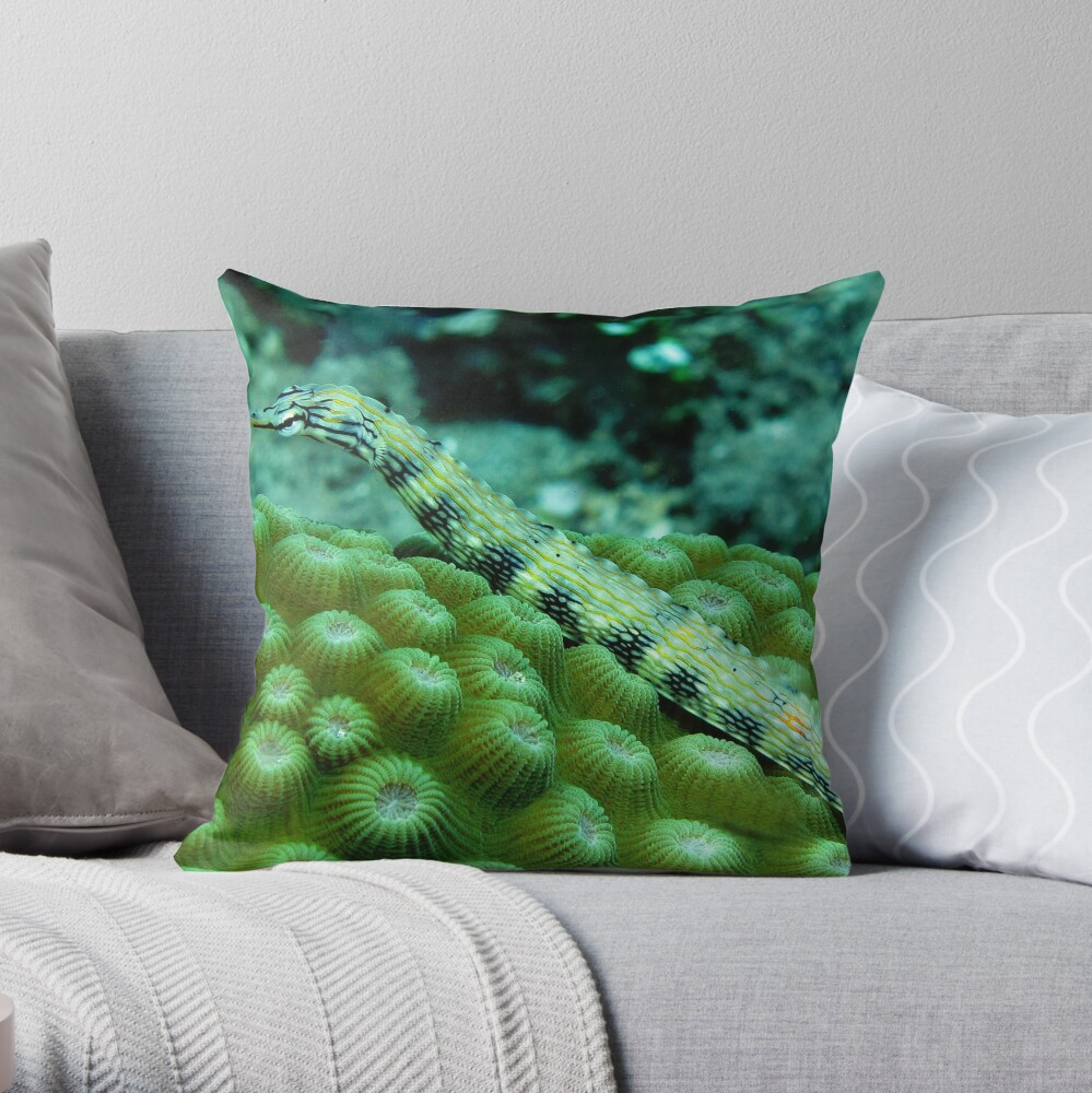 Pipefish on Favid Throw Pillow