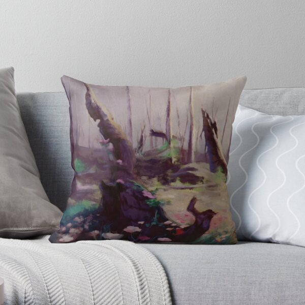Rebirth | painted Bambi landscape Throw Pillow