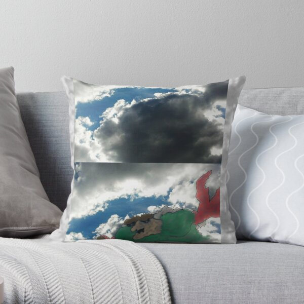 Crab Monster in Clouds Throw Pillow