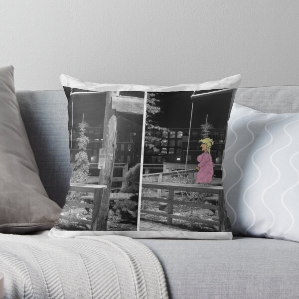 Lady Waiting in Tree Throw Pillow