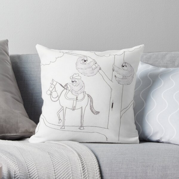 Sloth and Horse Throw Pillow