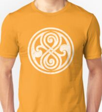 Seal of Rassilon - Classic Doctor Who - White on Black (Distressed) Unisex T-Shirt