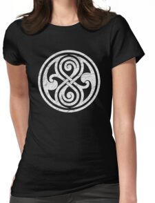 Seal of Rassilon - Classic Doctor Who - White on Black (Distressed) Womens Fitted T-Shirt