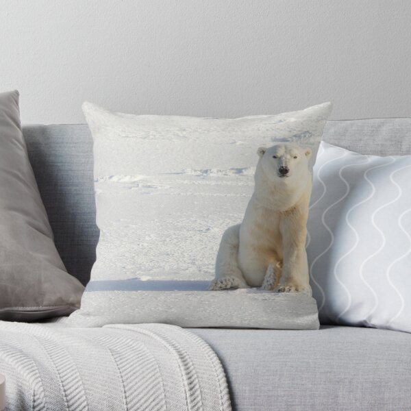 Sitting on the ice Throw Pillow