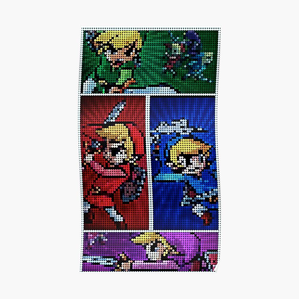 Cuatro espadas Pixel Art Póster
