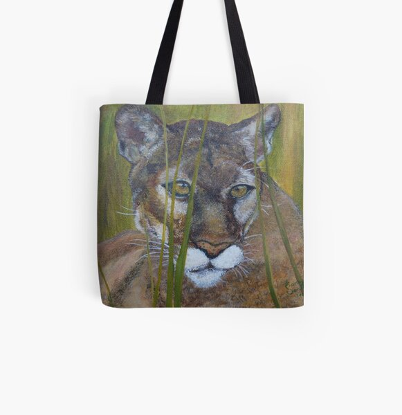 Cougar in the field All Over Print Tote Bag