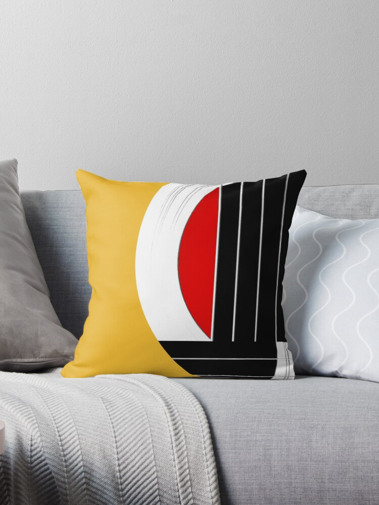 Fabulous Geometric Guitar Abstract In Orange Red Black White Throw Pillow By Natalie Kinnear Theyellowbook Wood Chair Design Ideas Theyellowbookinfo