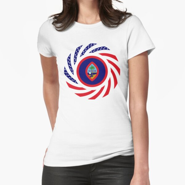 Guamanian American Multinational Patriot Flag Series Fitted T-Shirt
