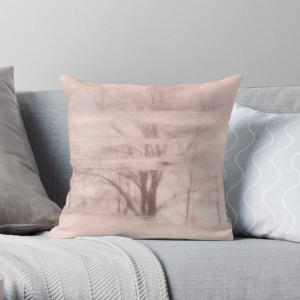 Winter reflections in rose Throw Pillow