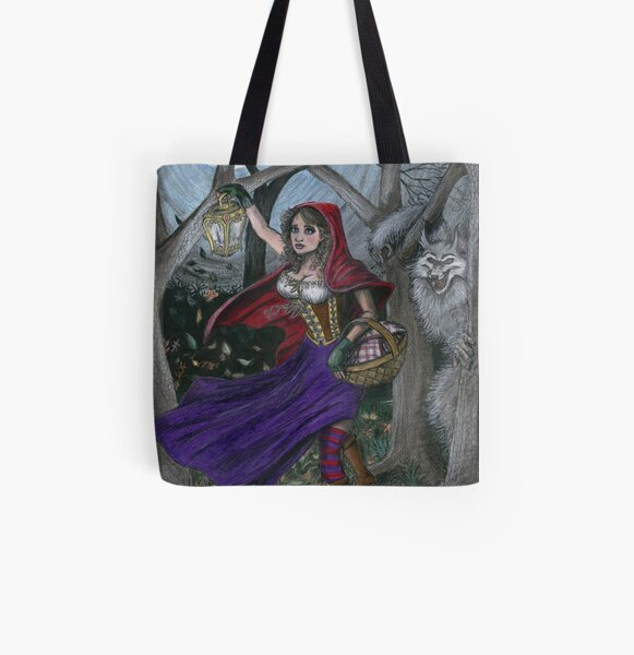 Little Red and the Big Bad Wolf All Over Print Tote Bag