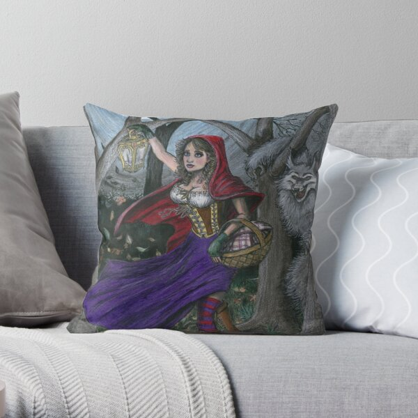 Little Red and the Big Bad Wolf Throw Pillow