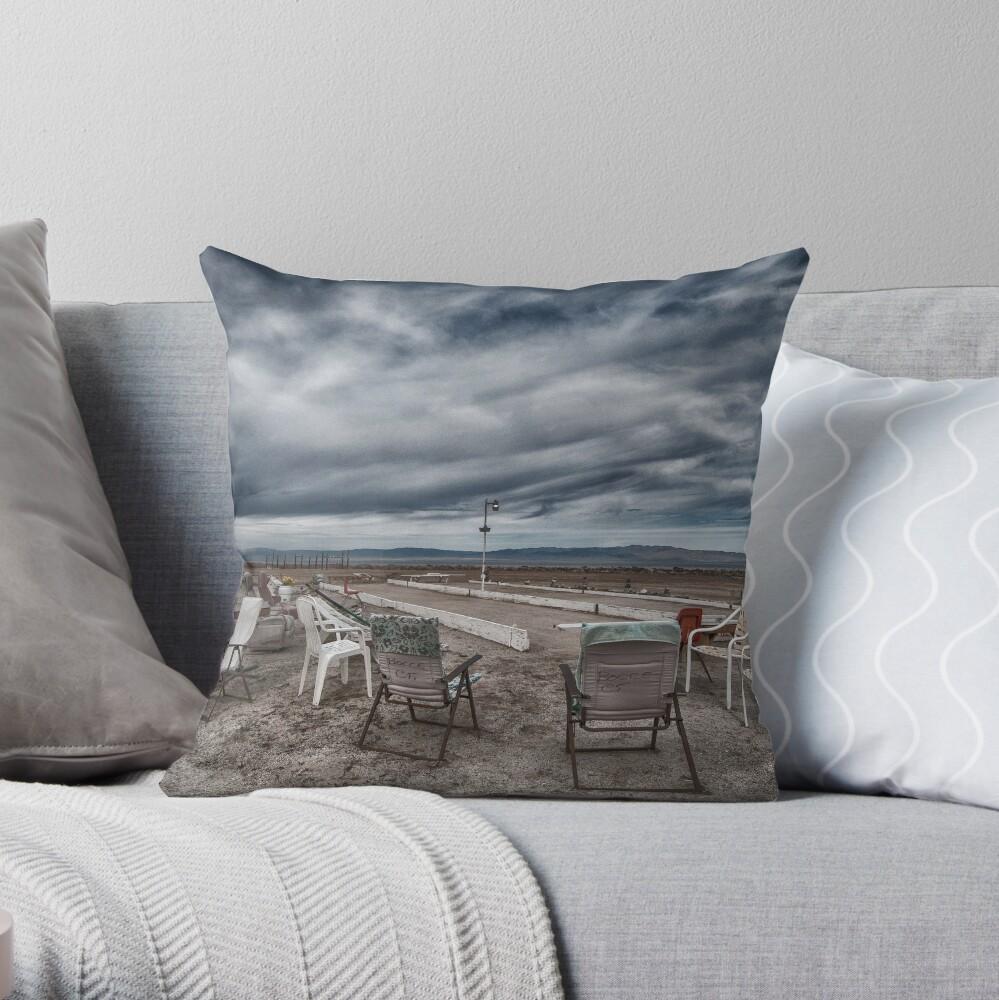 Salton Sea Series: Lounging at the shuffleboard site Throw Pillow