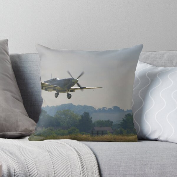 Spitfire at Duxford Throw Pillow