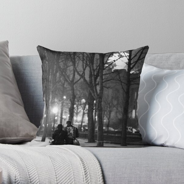 From Paris with Snow Throw Pillow