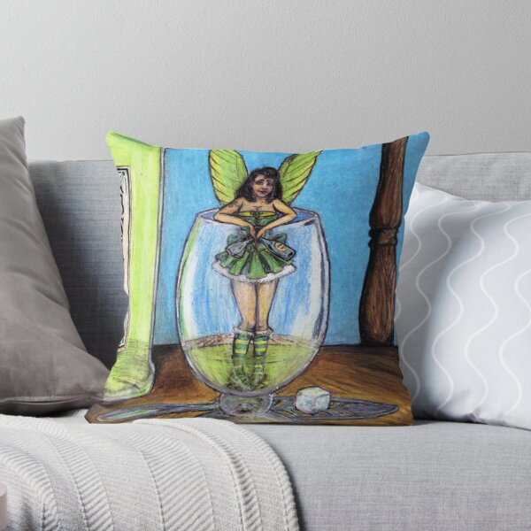 The Green Fairy Throw Pillow