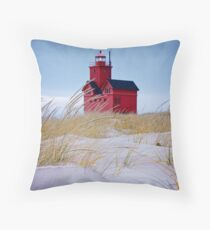 Lighthouse Big Red in Holland Michigan Throw Pillow