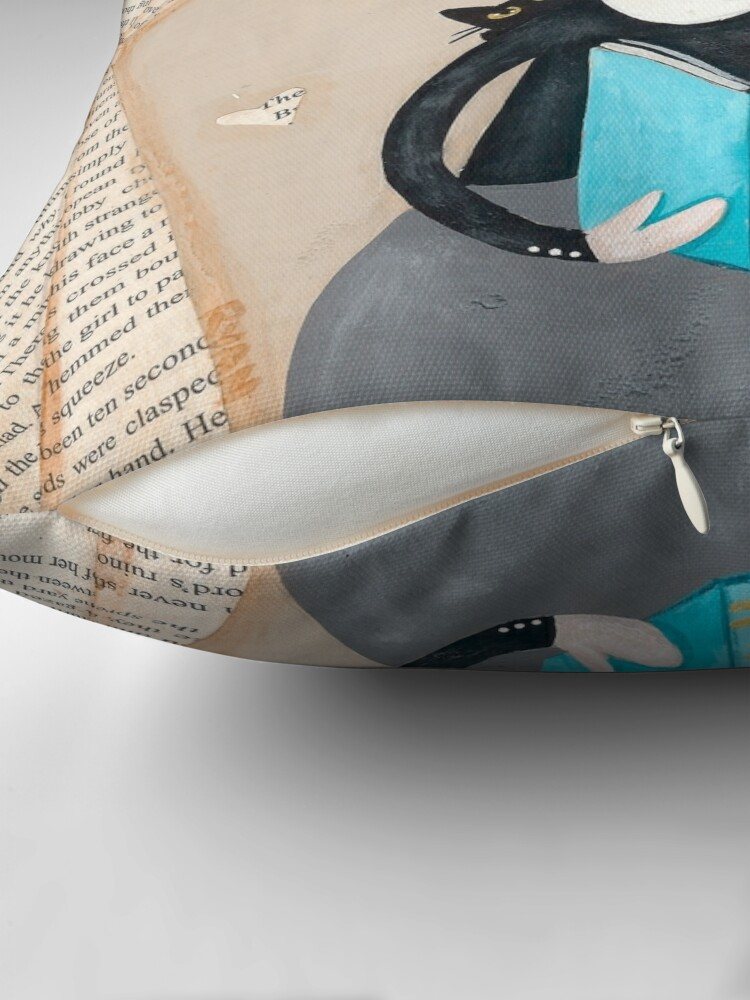 Alternate view of The Reader Girl with Cats Throw Pillow
