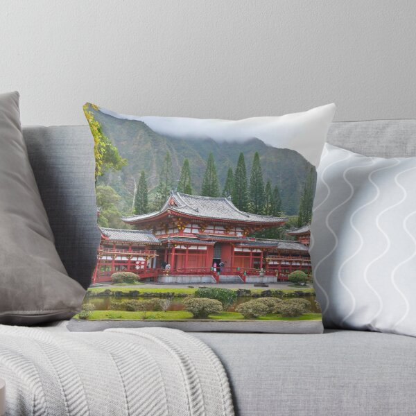 Byodo-In Japanese Temple Throw Pillow