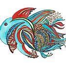 Red Fish Blue Fish colorful hand painted watercolor by Naquaiya