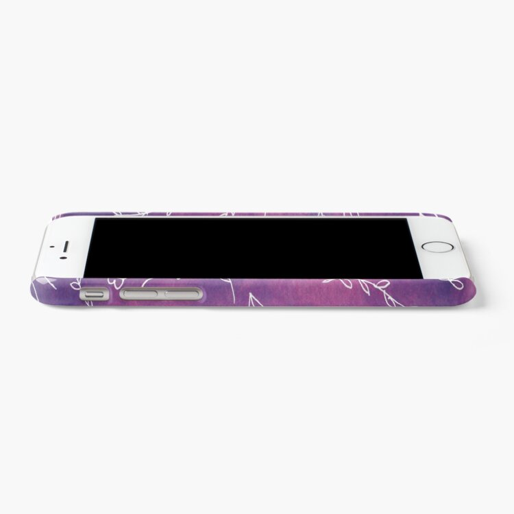 Alternate view of Purple Typography Quote Floral Botanical Illustration Artwork Art Print iPhone Case & Cover