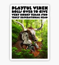 PLAYFUL VIXEN ROLLS OVER TO GIVE VERY HORNY TEXAN STUD TRULY INSPIRATIONAL HEAD Sticker