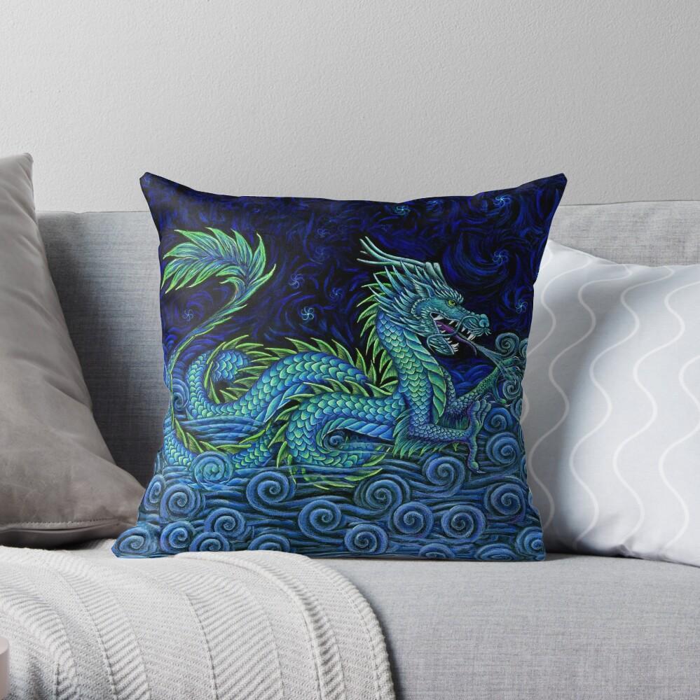 Chinese Azure Dragon Throw Pillow