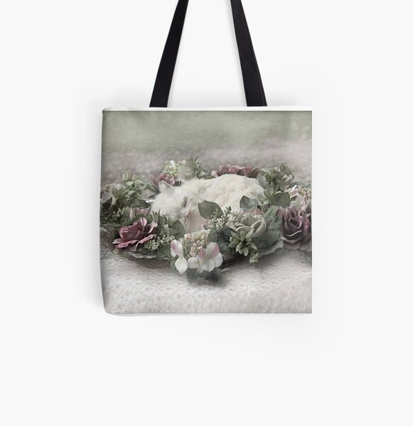 White cat All Over Print Tote Bag