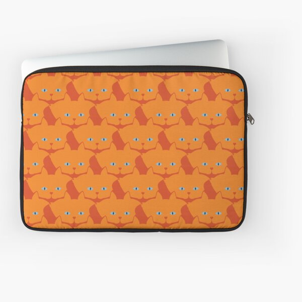Solid Bright Orange Cat Cattern [Cat Pattern] Laptop Sleeve