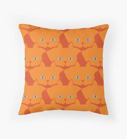 Solid Bright Orange Cat Cattern [Cat Pattern] Throw Pillow