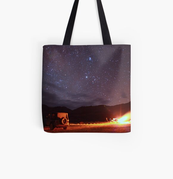 Jeep Campfire with Incredible Star Background All Over Print Tote Bag