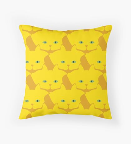 Solid Yellow Cat Cattern [Cat Pattern] Throw Pillow