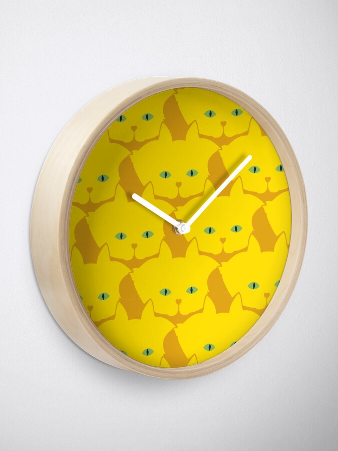 Alternate view of Solid Yellow Cat Cattern [Cat Pattern] Clock