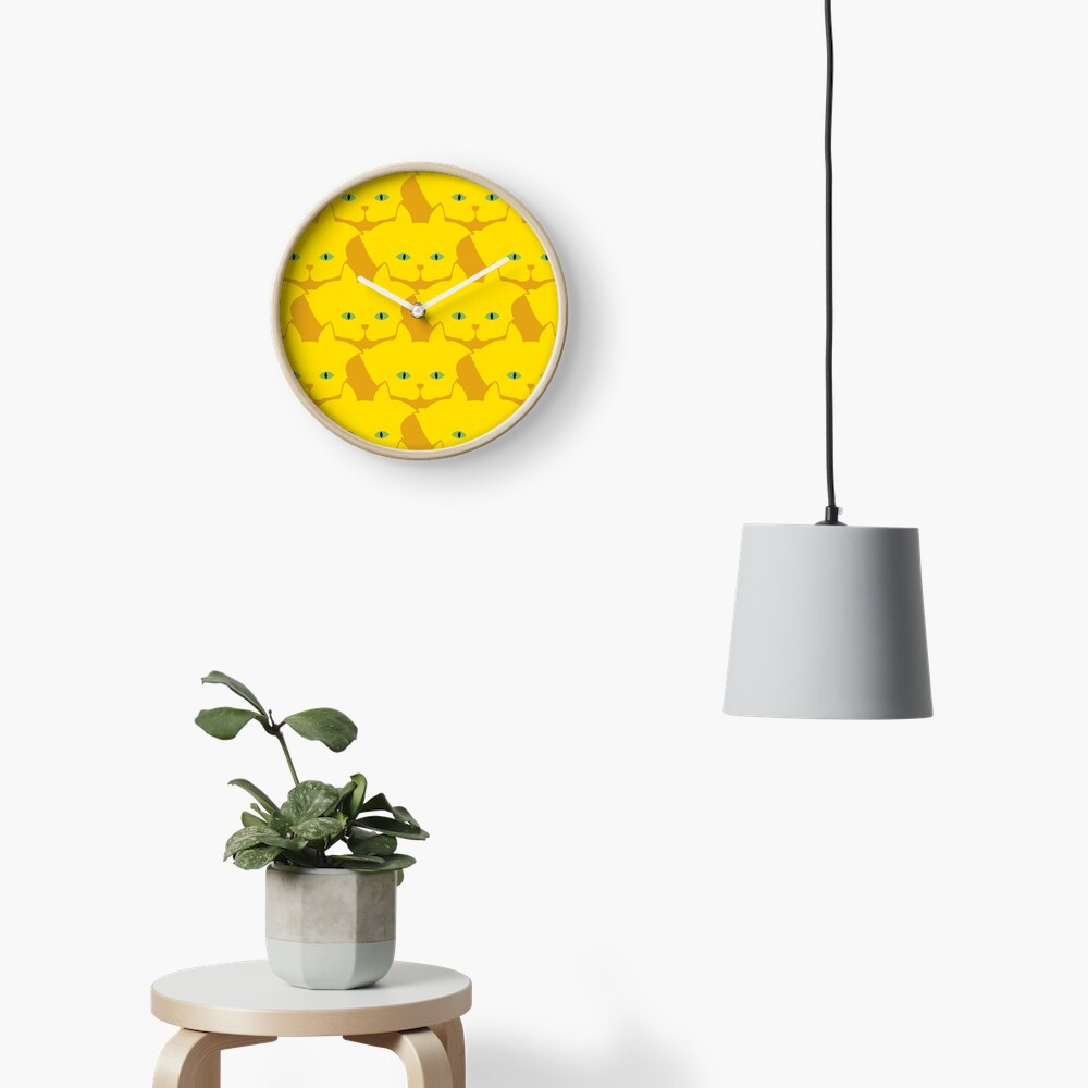 Solid Yellow Cat Cattern [Cat Pattern] Clock