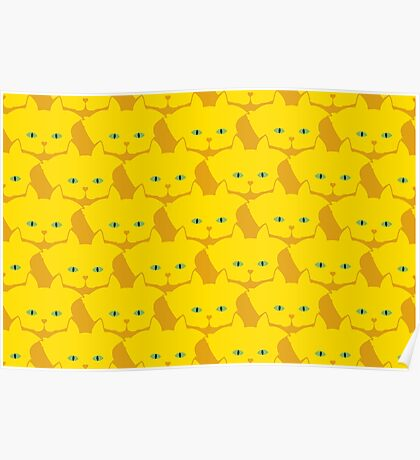 Solid Yellow Cat Cattern [Cat Pattern] Poster