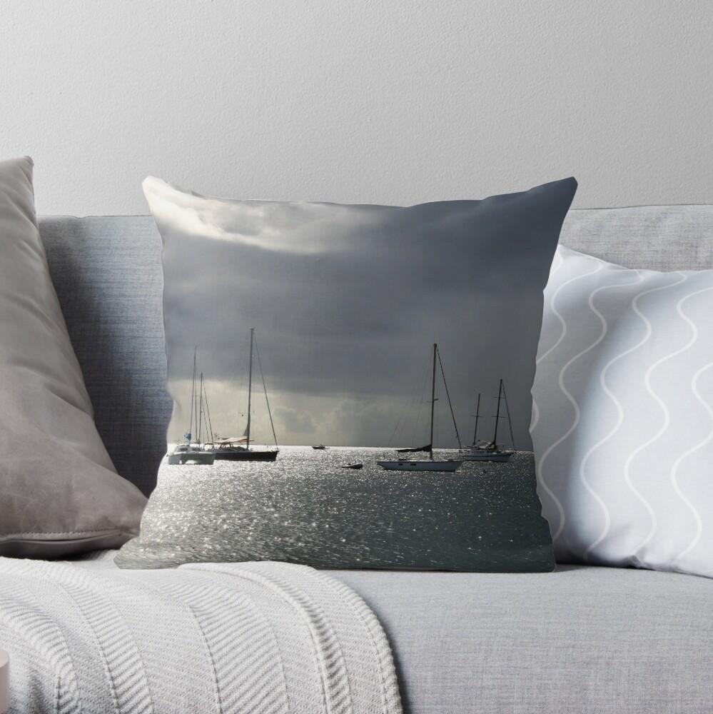 Boats at Store Bay, Tobago Throw Pillow