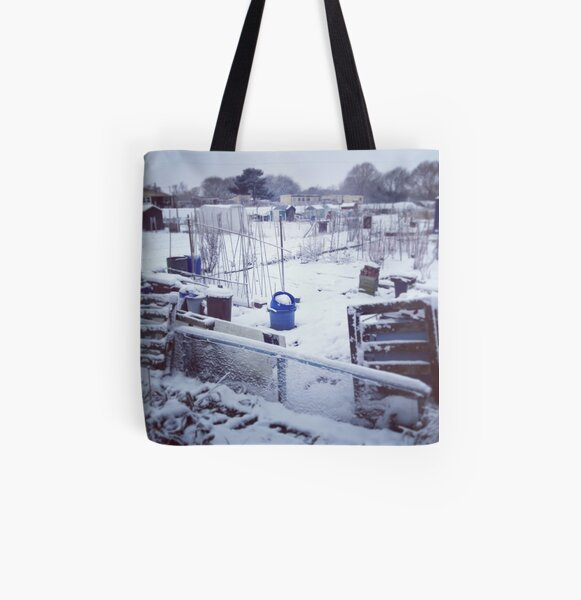 Snowy Allotments All Over Print Tote Bag