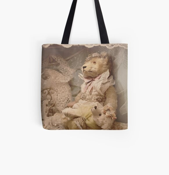 Teddybears in lace All Over Print Tote Bag