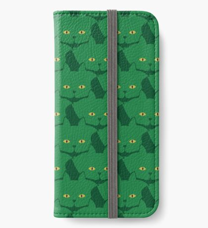 Solid Green Cat Cattern [Cat Pattern] iPhone Wallet