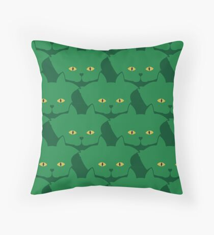 Solid Green Cat Cattern [Cat Pattern] Throw Pillow