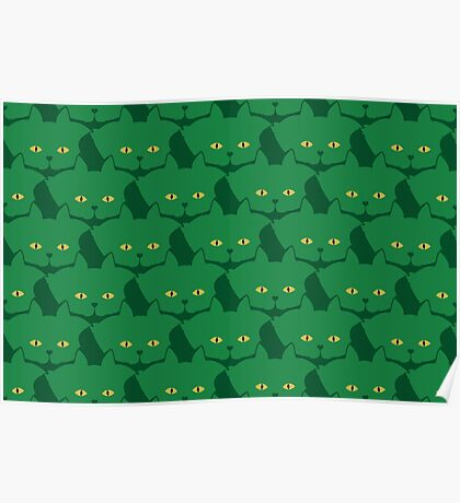 Solid Green Cat Cattern [Cat Pattern] Poster