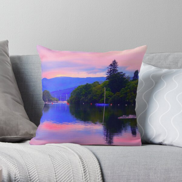 Sunrise Over Lake Windermere Throw Pillow