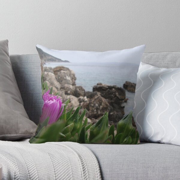 Flower and the sea Throw Pillow