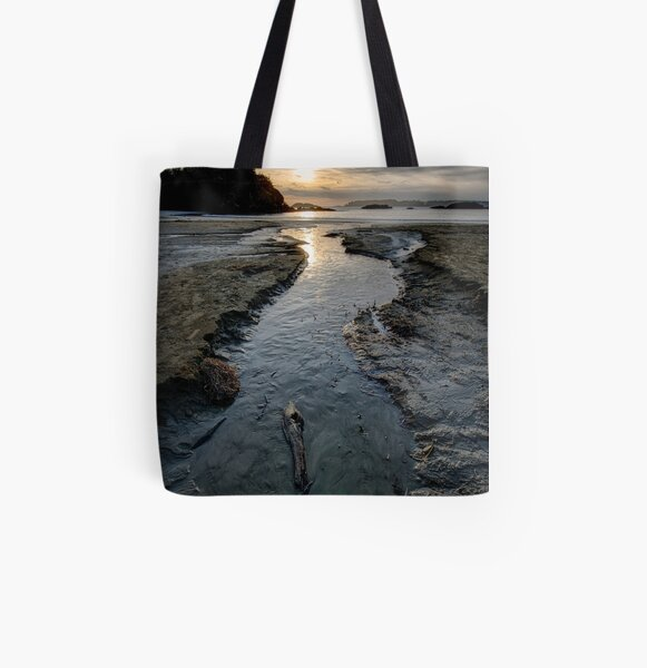 The Stream at McKenzie Beach All Over Print Tote Bag