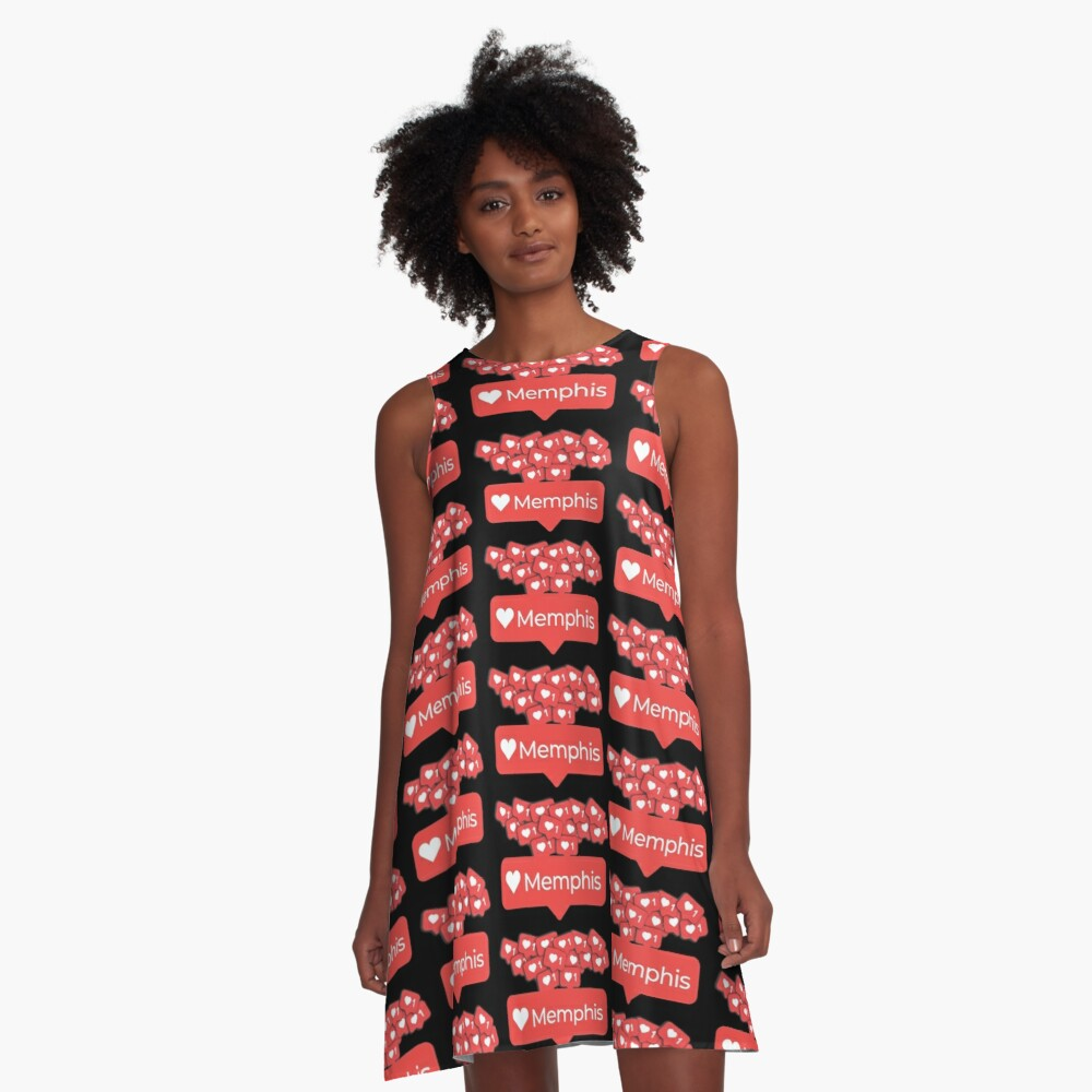 Love My Memphis, Tennessee Notification Hearts A-Line Dress