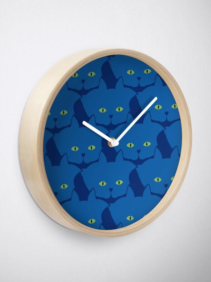 Alternate view of Solid Blue Cat Cattern [Cat Pattern] Clock