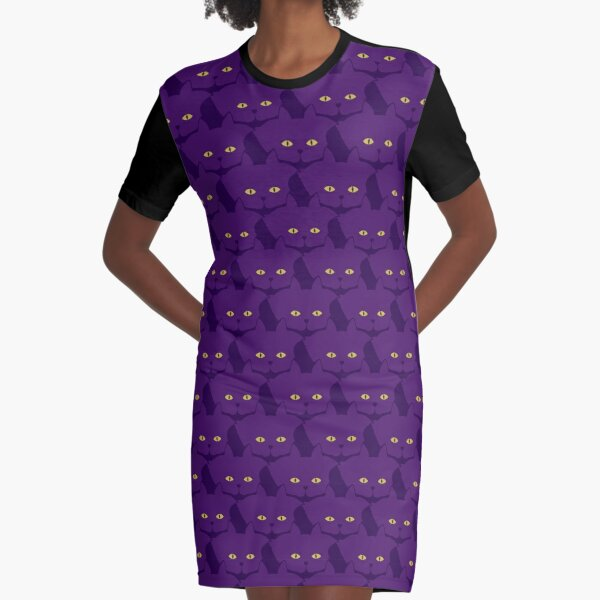 Solid Violet Cat Cattern [Cat Pattern] Graphic T-Shirt Dress